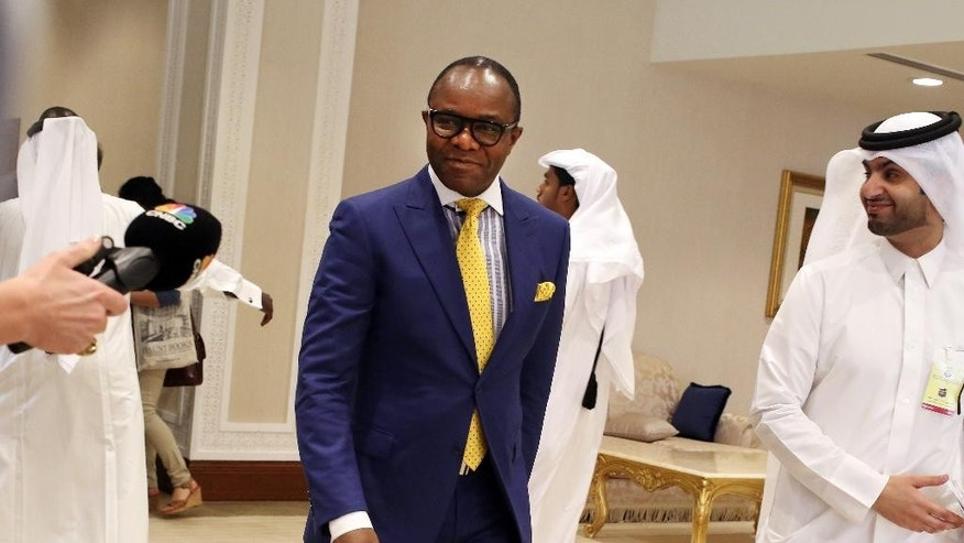 Nigerian Oil Minister Emmanuel Ibe Kachiwku arrives at an oil-producers' meeting in Doha, Qatar, on Sunday, April 17, 2016. Oil-producing countries are meeting in Qatar to discuss a possible freeze of production to counter low global prices, but Iran's last-minute decision to stay home could dilute the impact of any agreement.  (AP Photo/Jon Gambrell)