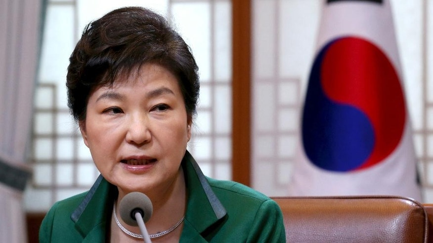 South Korean President Park Geun-hye speaks during a regular meeting with her top aides at the presidential house in Seoul, South Korea, Monday, April 18, 2016. President Park said Monday there are signs that North Korea is preparing a fifth nuclear bomb test amid reports of increased brisk activity at the country's main nuclear test site. (Baek Seung-ryul/Yonhap via AP) KOREA OUT