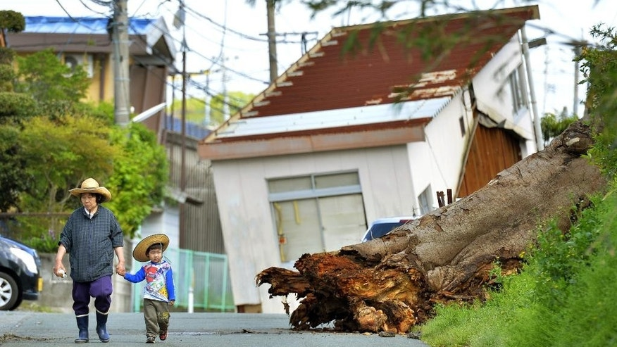 People walk near a fallen tree and house damaged by an earthquake in Mashiki, Kumamoto prefecture, Japan Sunday, April 17, 2016. After two nights of earthquakes, flattened houses and triggered major landslides in southern Japan, 91,000 people had evacuated from their homes, according to a Kumamoto prefectural official.  (Ryosuke Ozawa/Kyodo News via AP) JAPAN OUT, MANDATORY CREDIT