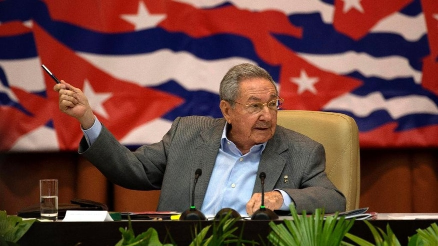 Cuba's President Raul Castro attends a session of the 7th Congress of the Cuban Communist Party in Havana, Cuba, Monday, April 18, 2016. (Ismael Francisco/Cubadebate via AP)