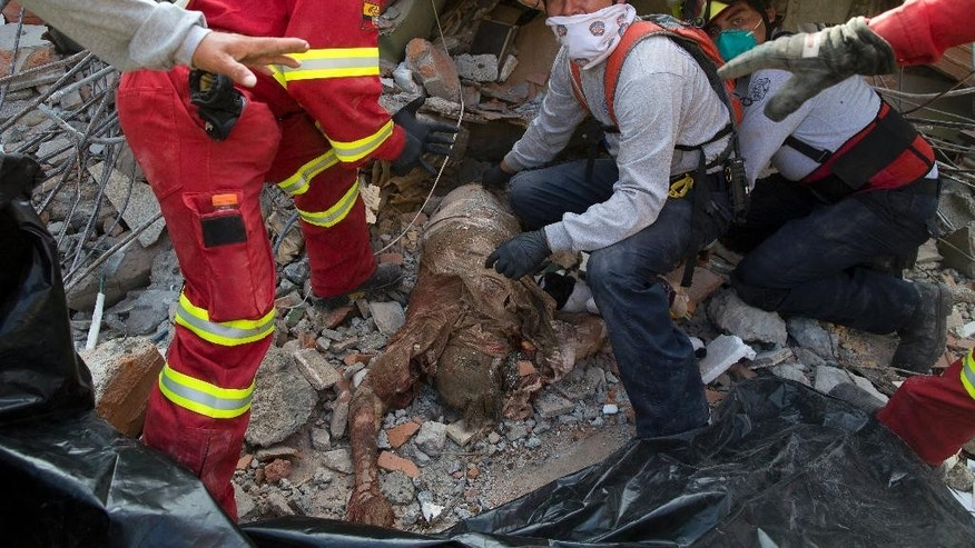 "Firefighters recover a body from the debris of a collapsed building felled by the 7.8-magnitude earthquake, in Portoviejo, Ecuador, Monday, April 18, 2016. The Saturday night quake left a trail of ruin along Ecuador's normally placid Pacific Ocean coast. At least 350 people died and thousands are homeless. President Rafael Correa said early Monday that the death toll would ""surely rise, and in a considerable way."" (AP Photo/Rodrigo Abd)"