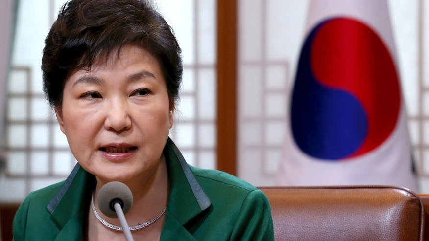 April 18, 2016: South Korean President Park Geun-hye speaks during a regular meeting with her top aides at the presidential house in Seoul/