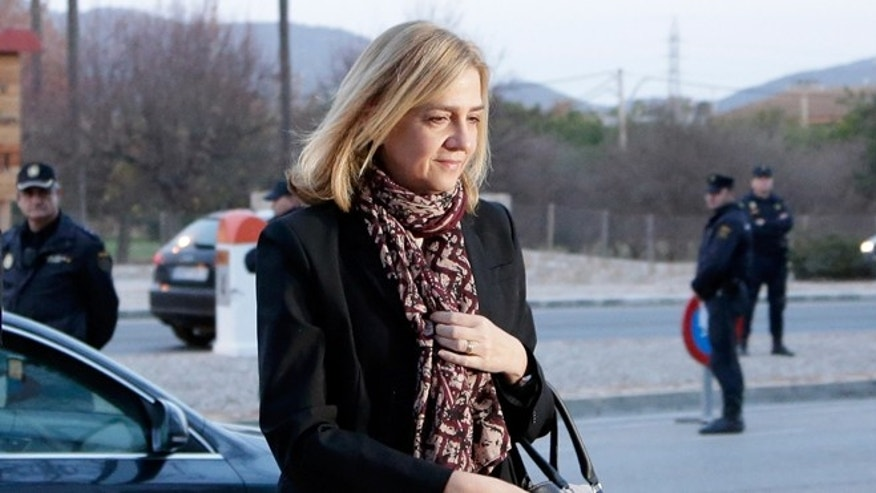 Spain's Princess Cristina arrives at a makeshift courtroom in Palma de Mallorca, on Jan. 11, 2016.