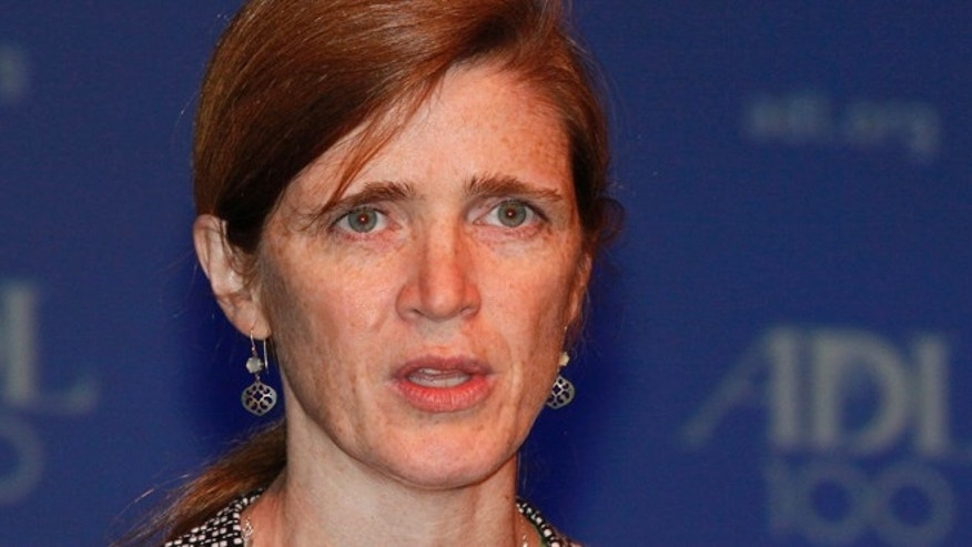 Oct. 31, 2013: In this photo provided by the Anti-Defamation League, U.S. Ambassador to United Nations, Samantha Power, addresses the Annual Meeting of the ADL in New York. (AP/Anti-Defamation League, David Karp)