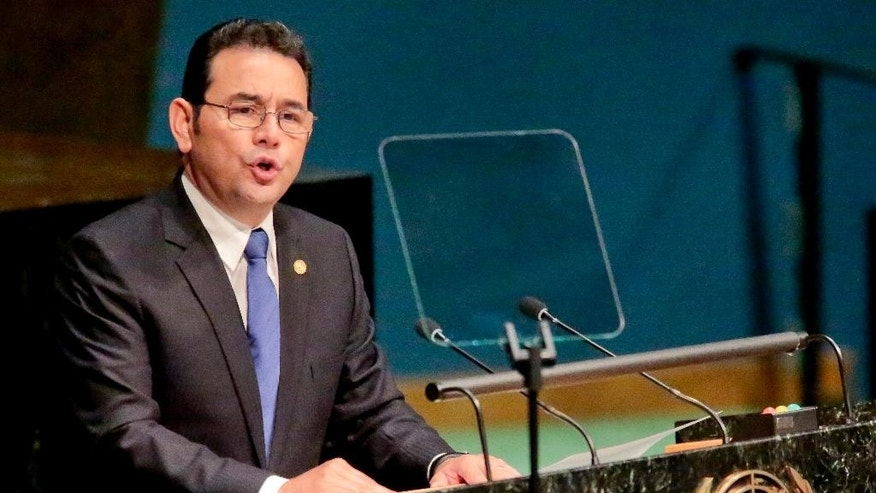 Jimmy Morales, President of the Republic of Guatemala, addresses the U.N. special session on global drug policy, Tuesday April 19, 2016 at UN. headquarters. It is the first U.N. special session to address global drug policy in nearly 20 years. (AP Photo/Bebeto Matthews)