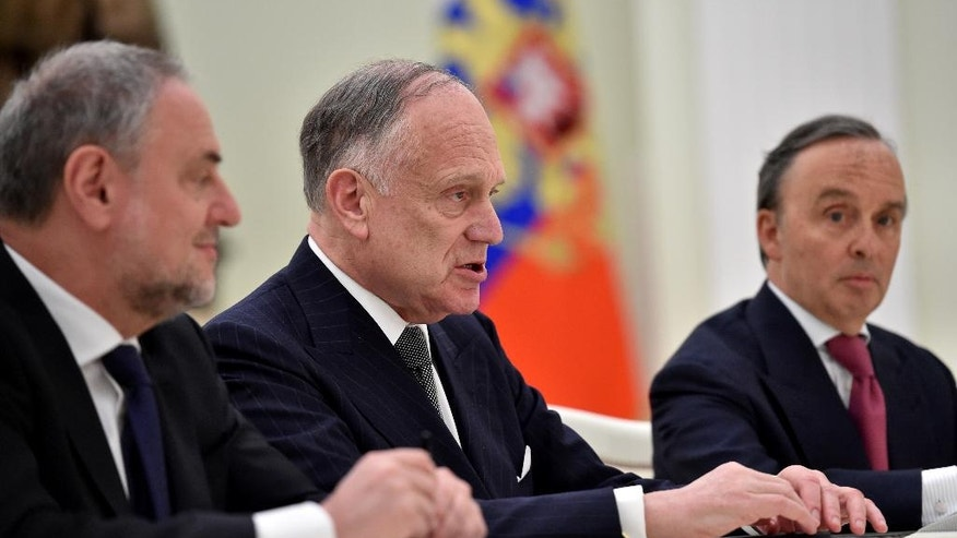 President of World Jewish Congress Ronald S. Lauder, center, meets with Russian President Vladimir Putin at the Kremlin in Moscow, Russia, on Tuesday, April 19, 2016. (Krill Kudryavtsev/Pool photo via AP)