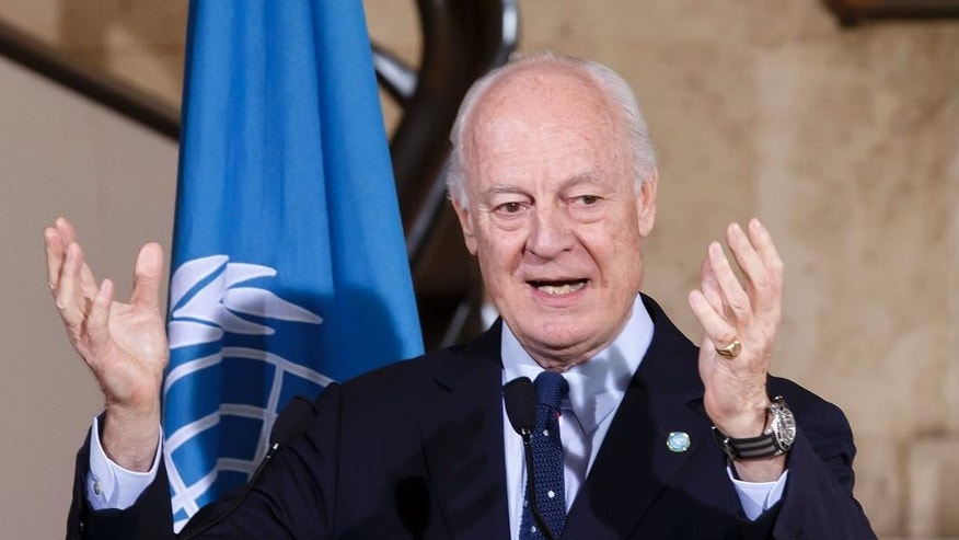 UN Special Envoy of the Secretary-General for Syria Staffan de Mistura speaks to the media during a press conference after a round of negotiations, at the European headquarters of the United Nations in Geneva, Switzerland, Monday, April 18, 2016. (Salvatore Di Nolfi/Keystone via AP)