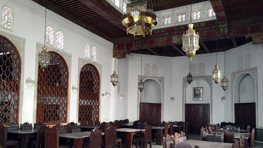 This April 14, 2016, photo shows the reading room of the Al-Qarawiyyin mosque in Fez, Morocco. Founded 12 centuries ago by a pioneering woman, the al-Qarawiyyin library is wrapping up a careful restoration project and King Mohamed VI is expected to preside over the reopening. But authorities haven't decided whether the public will be able to view its treasured Islamic manuscripts, or whether that privilege will be limited to university researchers. (AP Photo/Samia Errazouki)