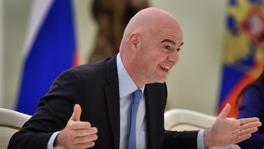 FIFA President Gianni Infantino gestures at his meeting with Russian President Vladimir Putin in the Kremlin in Moscow, Wednesday, April 20, 2016. (Alexander Nemenov/Pool Photo via AP)