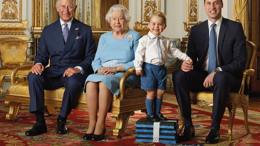 In this image released by the Royal Mail on Wednesday April 20, 2016, Britain's Prince George stands on foam blocks during a photo shoot.