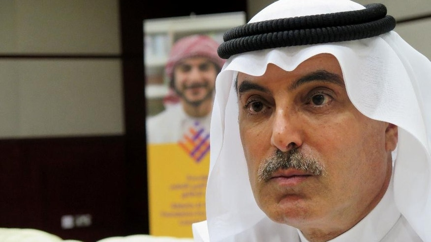 Chairman of the Arab Youth Fund Abdul Aziz al-Ghurair speaks to The Associated Press Wednesday, April 20, 2016 in Dubai. The multibillionaire businessman from the United Arab Emirates has launched the Arab world's largest education fund, setting aside $1.14 billion (4.2 billion dirhams) in grants for underserved youth from the region.  He says his family has allocated a third of their wealth for the endowment. (AP Photo/Malak Harb)