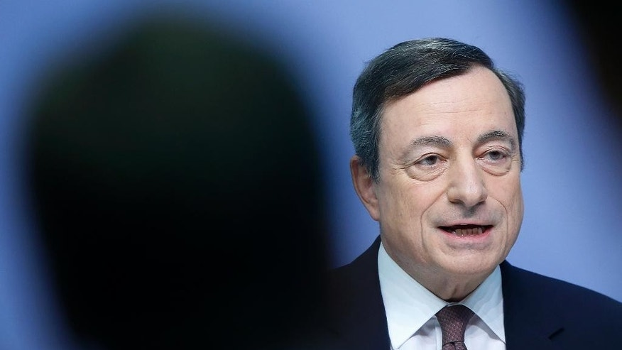President of European Central Bank, ECB, Mario Draghi speaks during a news conference after a meeting of the governing council in Frankfurt, Germany, Thursday, April 21, 2016. (AP Photo/Michael Probst)