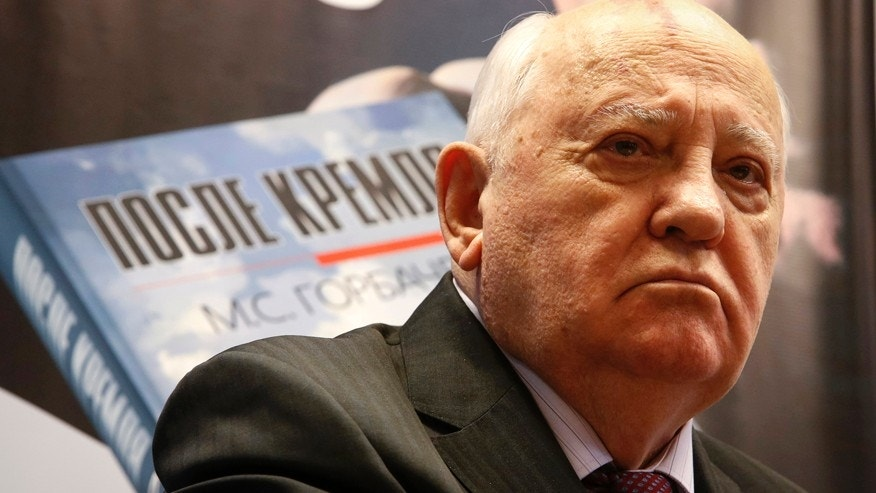 """Dec. 24, 2014: Former Soviet president Mikhail Gorbachev looks on during a presentation of his new book """"After Kremlin"""" in Moscow."""