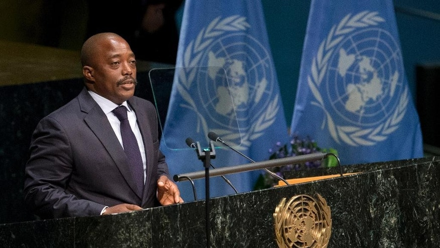 Congolese President Joseph Kabila speaks during the Paris Agreement on climate change ceremony, Friday, April 22, 2016 at U.N. headquarters. (AP Photo/Mary Altaffer)
