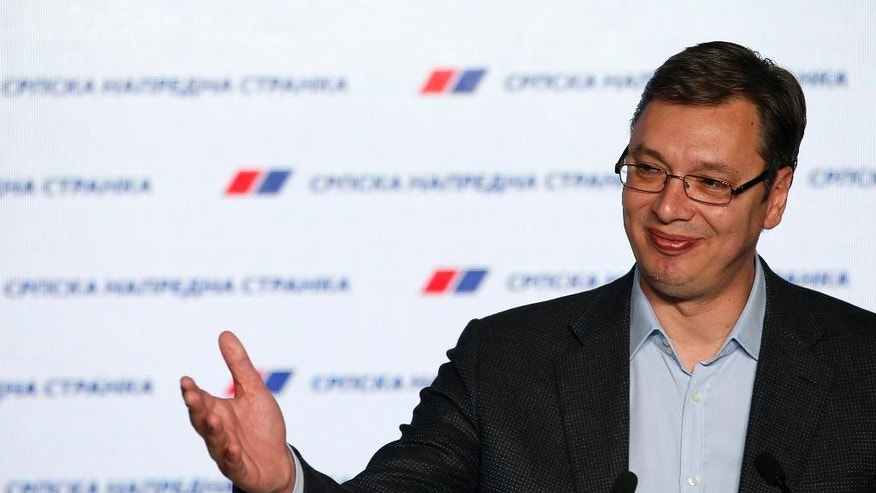 Serbian Prime Minister and Progressive Party leader Aleksandar Vucic, speaks during a press conference after claiming victory in parliamentary elections in Belgrade, Serbia, Sunday, April 24, 2016. Initial unofficial results show that the incumbent pro-EU populists have swept Serbia's parliamentary election, leaving pro-Russia nationalists far behind.(AP Photo/Darko Vojinovic)