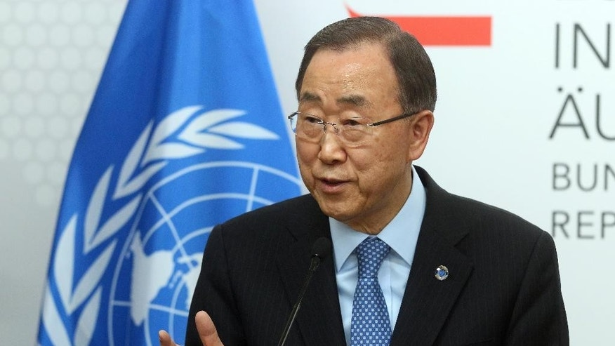 U.N. Secretary General Ban Ki-moon speaks during a press conference as part of a meeting with Austrian Foreign Minister Sebastian Kurz at the foreign ministry in Vienna, Austria, Tuesday, April 26, 2016. (AP Photo/Ronald Zak)