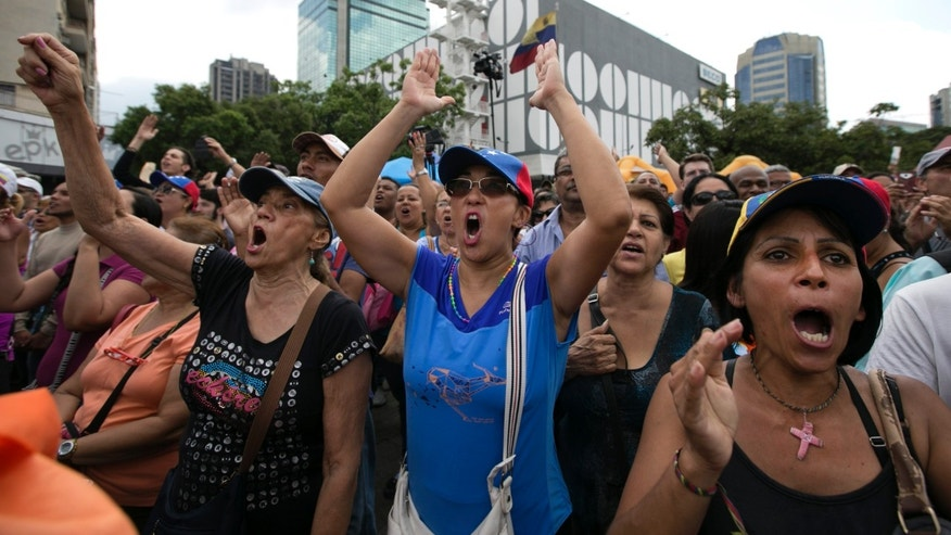 A signature gathering campaign in Caracas, Venezuela, Wednesday, on April 27, 2016.
