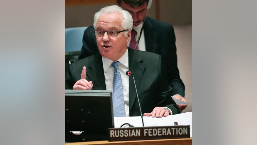 Russia's U.N. Ambassador Vitaly Churkin speaks during a Security Council meeting on the conflict in Ukraine, Thursday April 28, 2016 at U.N. headquarters. Fighting between Russia-backed separatists and Ukrainian government forces has claimed thousands of lives over the past two years. (AP Photo/Bebeto Matthews)