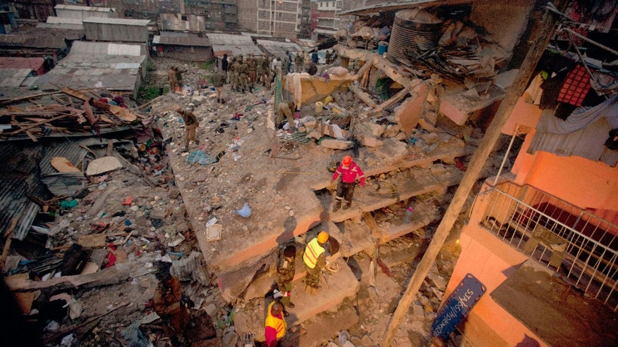 April 30, 2016: Rescuers work at the site of a building collapse in Nairobi, Kenya.