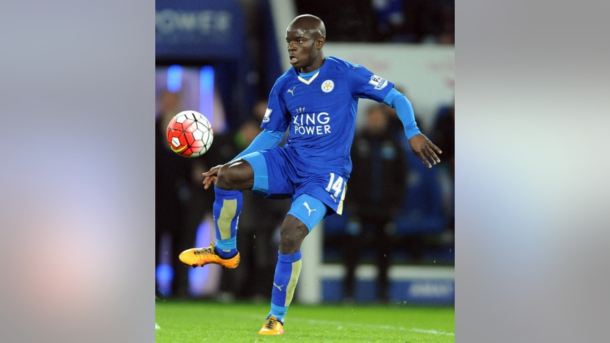FILE - In this Monday, March 14, 2016 file photo Leicester's Ngolo Kante during the English Premier League soccer match between Leicester City and Newcastle United at the King Power Stadium in Leicester, England. The club's first signing last year from French team Caen when Claudio Ranieri was appointed manager, Kante has been one of the best midfielders in the league. Like Drinkwater, he made his international debut in March for France and scored. (AP Photo/Rui Vieira, File)