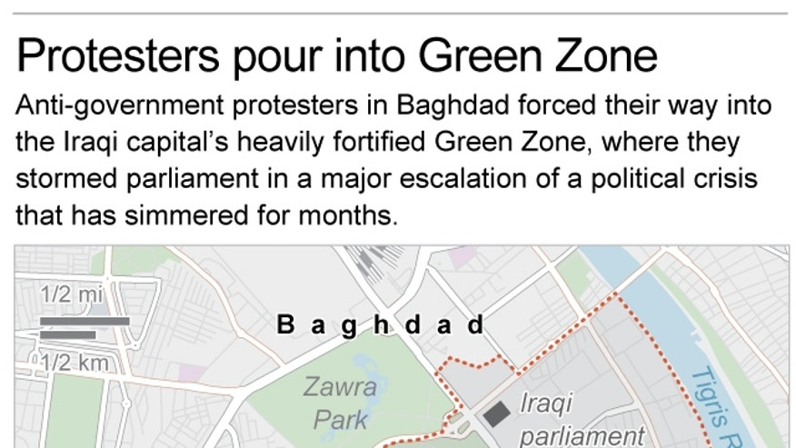 Map shows the Green Zone in Baghdad and locates the Iraqi parliament and U.S. Embassy; 2c x 3 inches; 96.3 mm x 76 mm;