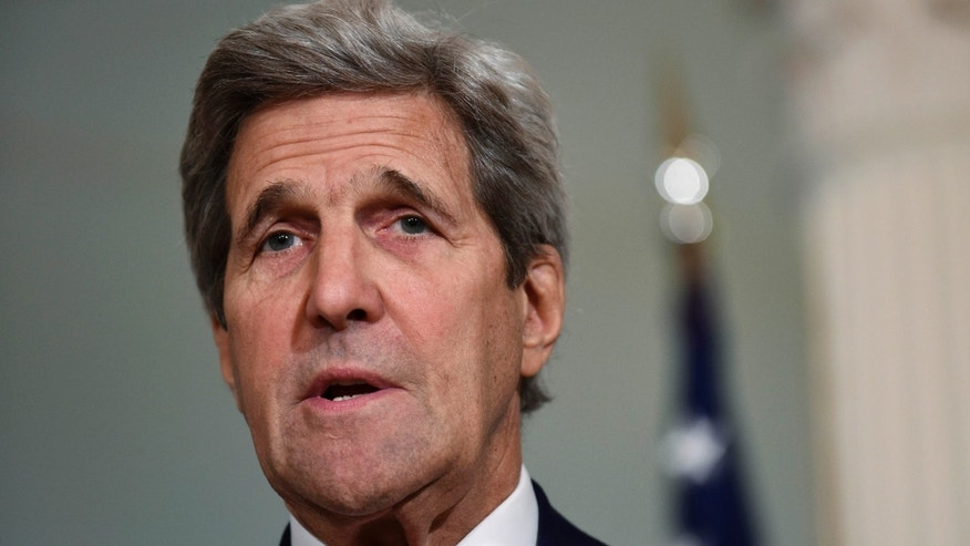 FILE - In this March 30, 2016, file photo, Secretary of State John Kerry speaks during a media availability at the State Department in Washington.