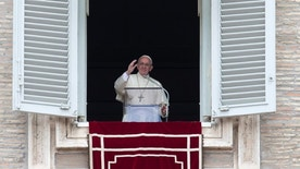 Pope Francis delivers his blessing during the Regina Coeli prayer from his studio's window overlooking St. Peter's Square, at the Vatican, Sunday, May 1,  2016. (AP Photo/Alessandra Tarantino)
