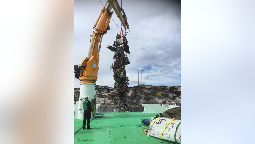 May 1, 2016: An image released by Accident Investigation Board Norway, showing the twisted wreckage of the salvaged helicopter which crashed Friday.