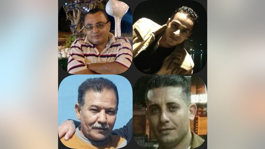 This undated, composite, handout image provided by a family member shows pictures, clockwise from top left, of 62-year old Tareq Saad, his son 26-year-old Saad, his son-in-law Salah Ali, and Mustafa Bakr, a family friend. These are four of the five slain men shot by Egyptian police last month in relation to the death of Italian Ph.D. student Guilio Regeni. The Egyptian police announced that the five are members of a criminal gang specialized in kidnapping and robbing foreigners and while searching a gang leader's home, came upon Regeni's bag. (Courtesy of Rasha Tareq Saad via AP)
