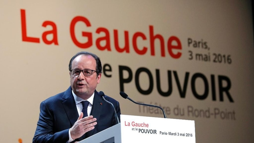 "French President Francois Hollande delivers a speech in Paris, Tuesday, May 3, 2016 during a conferene entitled ""The Left and the Power"". France is threatening to reject a huge free trade deal between the U.S. and the European Union, saying it's too friendly to U.S. business and probably doomed. (Phiippe Wojazer, Pool via AP)"