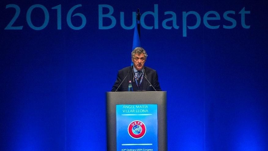 UEFA First Vice President Angel Maria Villar Llona delivers his address during the 40th Ordinary UEFA Congress in Budapest, Hungary, Tuesday, May 3, 2016.  (Tibor Illyes/MTI via AP)