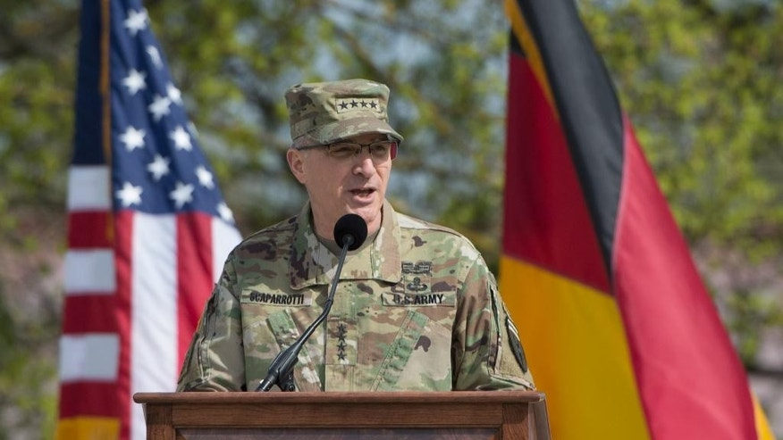 US Army General Curtis Scaparrotti, new commanding officer of US and NATO troops in Europe, speaks during the change in command at the United States European Command (EUCOM), in Stuttgart, Germany, Tuesday, May 3, 2016. (Marijan Murat/dpa via AP)