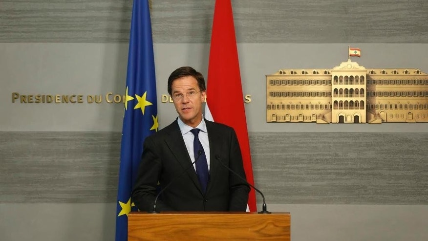 Dutch Prime Minister Mark Rutte, speaks during a joint press conference with Lebanese Prime Minister Tammam Salam at the government palace in downtown Beirut, Lebanon, Tuesday, May 3, 2016. (Mohamed Azakir/Pool via AP)