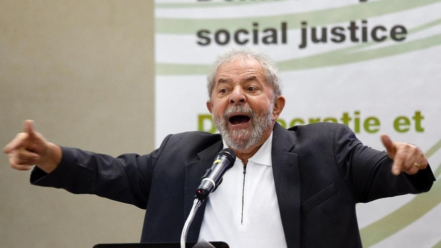 "FILE - In this April 25, 2016, file photo, Brazil's former President Luiz Inacio Lula da Silva speaks during the seminar, ""Democracy and Social Justice"" in Sao Paulo, Brazil. Brazil's Supreme Court said on Tuesday, May, 3, 2016, that Attorney General Rodrigo Janot has asked it to authorize investigations of former President Luiz Inacio Lula da Silva over alleged involvement in corruption at state-owned oil company Petrobras. (AP Photo/Andre Penner, File)"