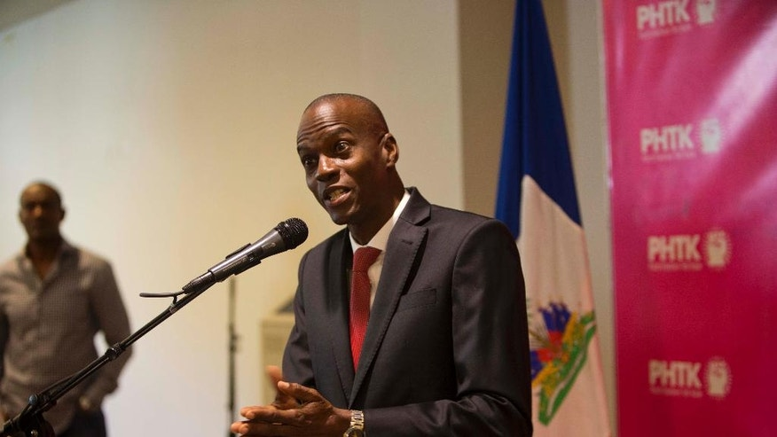 FILE - In this Jan. 4, 2016, file photo, Presidential candidate Jovenel Moise, from the PHTK party, speaks during a press conference in Port-au-Prince, Haiti. Allegations of electoral fraud surfaced after Martelly-backed Jovenel Moise ended in the front-runner spot. (AP Photo/Dieu Nalio Chery, File)