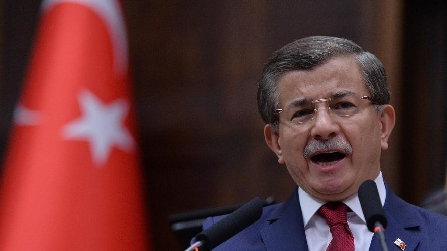 Turkey's Prime Minister Ahmet Davutoglu addresses lawmakers Tuesday.