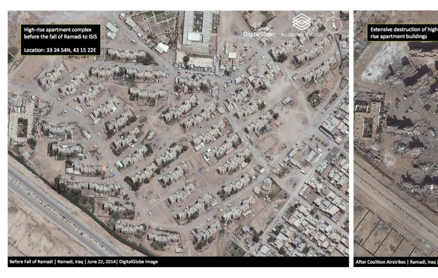 This combination of two satellite photos provided by DigitalGlobe and analyzed by Allsource Analysis shows a high-rise apartment complex in Ramadi, Iraq, on June 22, 2014, left, before the city fell to Islamic State militants, and on Jan. 29, 2016, after coalition airstrikes and heavy fighting to re-capture the city. During nine months of fighting, the U.S.-led coalition dropped hundreds of bombs on the city, hitting IS positions as well as infrastructure like roads, bridges and buildings. As they fled the city early this year, IS militants also methodically blew up buildings and infrastructure in a scorched earth campaign. (DigitalGlobe and Allsource Analysis via AP)