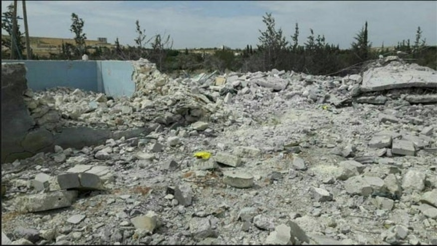 This photo is reported to show rubble from the airstrike in Syria.