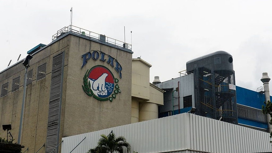 Partial view of the plant of Cerveceria Polar in Caracas, Venezuela, on April 21, 2016.