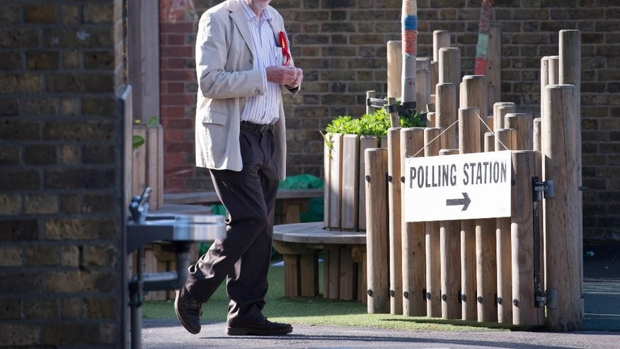 Britain's Labour party leader Jeremy Corbyn arrives to cast his vote at a polling station in Islington, north London Thursday May 5, 2016.  Britons voted Thursday in local and regional elections that will choose a new mayor for London — and are expected to deal a blow to Britain's main opposition Labour Party. Voters are electing a Scottish Parliament, legislatures in Wales and Northern Ireland as well as choosing many English local authorities, including a new London mayor to replace flamboyant Conservative Boris Johnson. (Stefan Rousseau/PA via AP) UNITED KINGDOM OUT