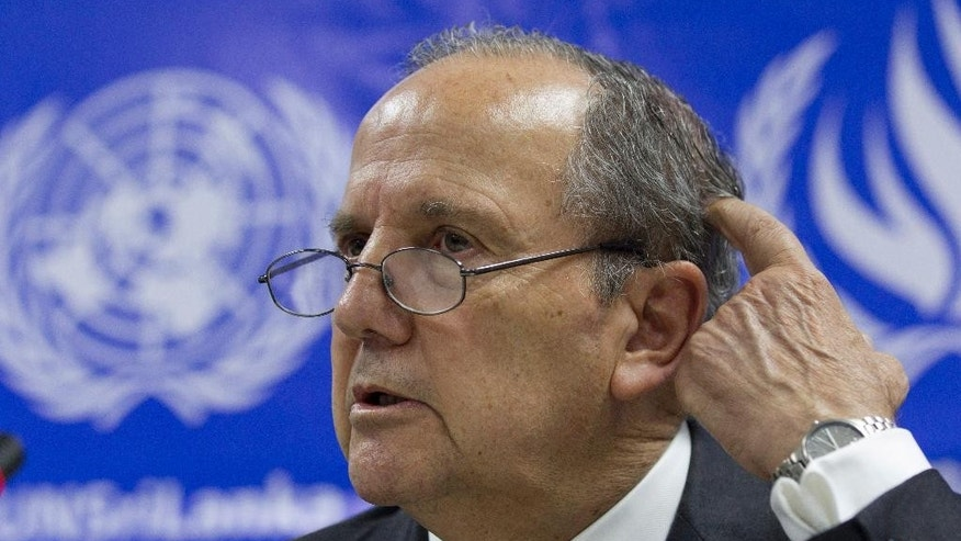UN special rapporteur on torture and other cruel, inhuman and degrading treatment or punishment Juan Mendez, gestures during a media briefing in Colombo, Sri Lanka, Saturday, May 7, 2016. (AP Photo/Eranga Jayawardena)