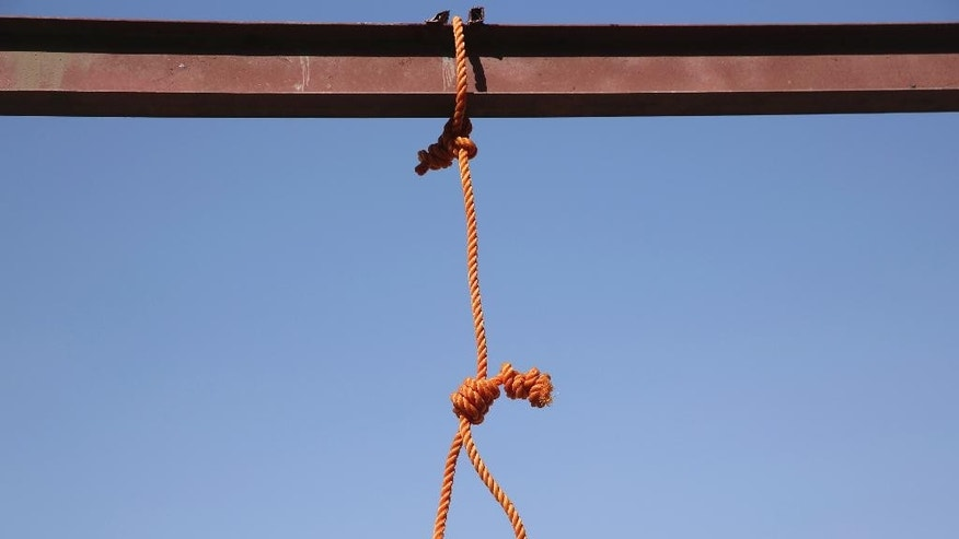 "FILE - In this Wednesday, Oct. 8, 2014, one of the six nooses prepared for men sentenced to death at a jail in Kabul, Afghanistan. Afghanistan has hanged six men convicted of terrorism, signaling a tougher approach toward the Taliban. President Ashraf Ghani's office says he ""approved executions of six terrorists who perpetrated grave crimes against civilians and security personnel."" (AP Photo/Massoud Hossaini, file)"