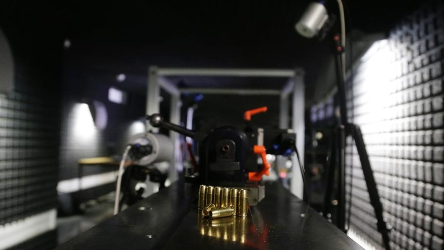 In this picture taken on Wednesday, April 13, 2016, hollow point bullets are displayed at a underground research facility at the University of Defense in Brno, Czech Republic. Researchers at the university have optimized existing hollow point bullets to serve air marshals. (AP Photo/Petr David Josek)