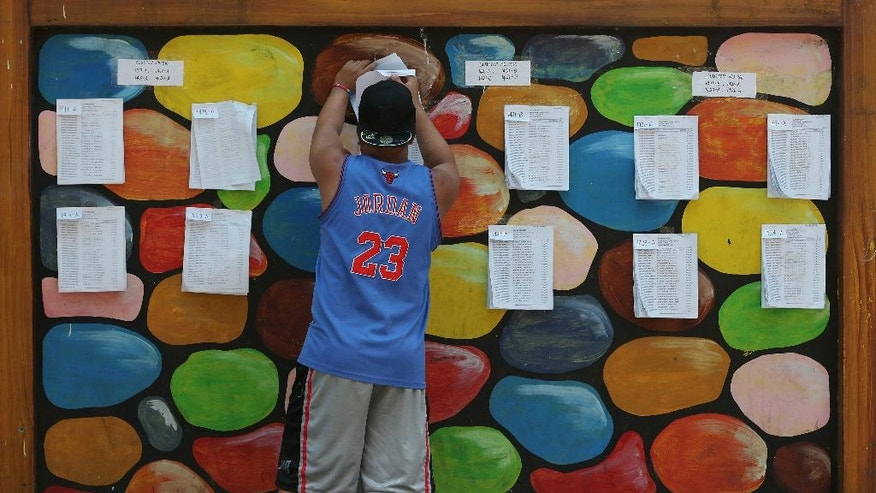 A Filipino checks a list of voters and their corresponding precinct numbers at a polling center in suburban Quezon city, north of Manila, Philippines on the eve of election day Sunday, May 8, 2016. Thirty years after emerging from a brutal dictatorship, Filipinos will face a dilemma when they pick a new leader on Monday: Should they choose an outspoken mayor with an audacious promise to wipe out crimes and graft within months or back reformists who would not be as bold but say they wouldn't put democracy at risk. (AP Photo/Aaron Favila)