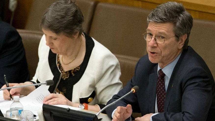 FILE - This is a Friday, April 22, 2016 file photo of   Columbia University's  Jeffrey Sachs as he speaks during a high level meeting on the Implementation of the Climate and Development Agendas, at U.N. headquarters. In a letter released Monday May 9, 2016, hundreds of economists including Jeffrey Sachs of Columbia University's Earth Institute are urging world leaders to end the era of tax havens, arguing they only benefit rich individuals and multinational corporations and serve to increase inequality. (AP Photo/Mary Altaffer, File)