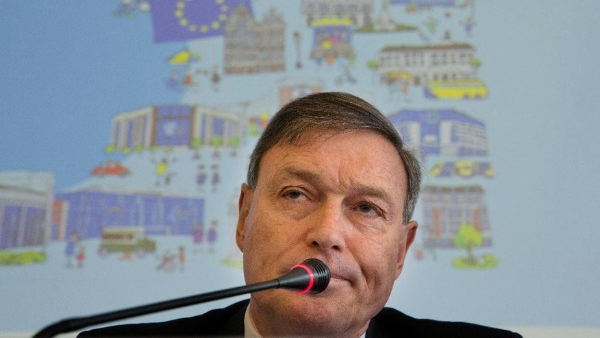European Union's Ambassador to China Hans Dietmar Schweisgut speaks during a press conference held before an event to mark Europe Day in Beijing, China, Monday, May 9, 2016. Schweisgut said Monday that the bloc wants a more level playing field in its trade relations with China while adding that Beijing's measures to address overcapacity in its steel industry were not going far enough. (AP Photo/Ng Han Guan)