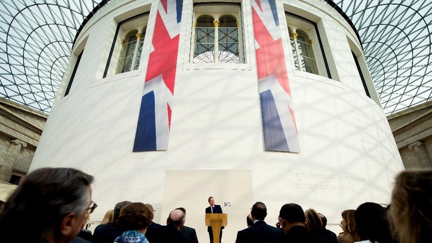 Britain's Prime Minister David Cameron delivers a speech on the European Union at the British Museum in central London, Monday May 9, 2016. Raising the stakes in Britain's European Union membership debate, Prime Minister David Cameron said Monday that leaving the bloc would increase the risk of war in Europe. (Leon Neal/Pool via AP)