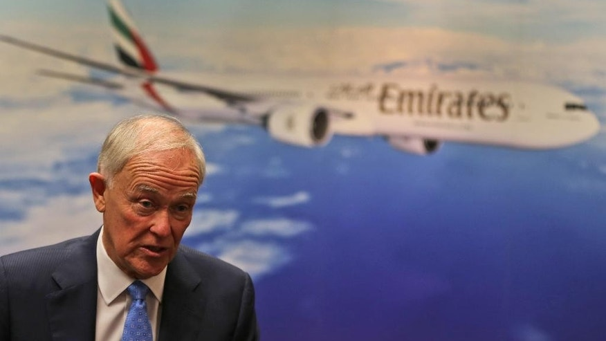 Emirates President Tim Clark talks to The Associated Press alongside the Emirates Airline annual results news conference in Dubai, United Arab Emirates, Tuesday, May 10, 2016. Clark says that despite the drop in revenue, the airline's fuel bill decreased to $5.4 billion over the last year, comprising around 26 percent of operating costs, compared to 35 percent the year before. Still, fuel remains the airline's biggest cost. (AP Photo/Kamran Jebreili)