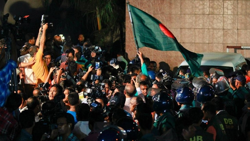 Bangladeshi activists celebrate outside Dhaka's central jail, after the execution of the Jamaat-e-Islami party's chief Motiur Rahman Nizami in Dhaka, Bangladesh, early Wednesday, May 11, 2016. Nizami is the fifth senior official from opposition parties to be executed since 2013 for war crimes carried out during the 1971 war. Three other senior members of Nizami's Jamaat-e-Islami party and a top leader of the main opposition Bangladesh Nationalist Party led by former Prime Minister Khaleda Zia were also hanged. (AP Photo)