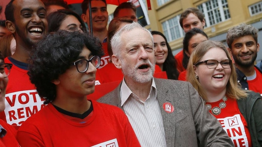 Jeremy Corbyn, Leader of Britain's Labour Party poses for a photograph with young supporters at the launch of 'Labour In for Britain', ahead of June's EU referendum, in London, Tuesday, May 10, 2016. (AP Photo/Kirsty Wigglesworth)